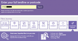 Screenshot of the BT Openreach checker, showing fibre as available on our phone number